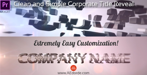 Clean and Simple Corporate Title Reveal Premiere Pro Mogrt Project